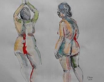 Original figure study, 2 gestures, pen and ink, watercolour washes on paper, back views, from live female model, 11 X 14, Figure 75