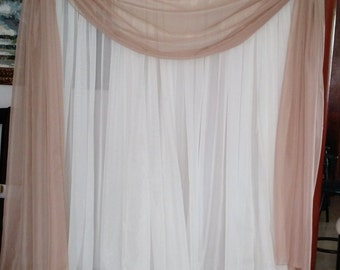"Scarf or Balance for drapes or windows 56"" in (142 cm) for any length you need. Sold by feet ( 12""). white, ivory, black, tan, gold, pink"