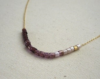 Eggplant Purple Color Blocked Gold Filled Choker Necklace