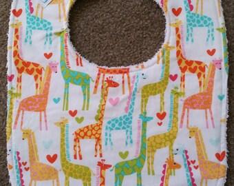 Giraffes Bib - White