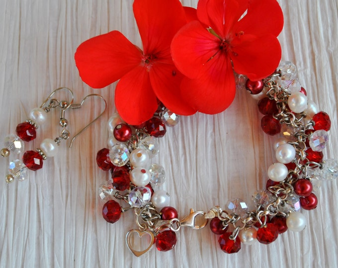 Red and white Dangle Bracelet set with sterling silver, pearls, and crystals, dangle bracelet, heart bracelet
