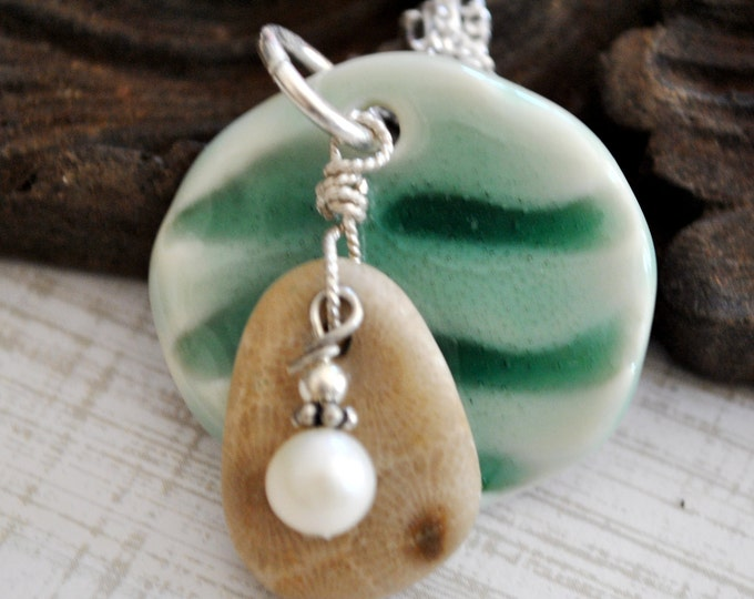 Petoskey stone charm with handcrafted ceramic wave pendant,and freshwater pearl,  Michigan necklace, Up North