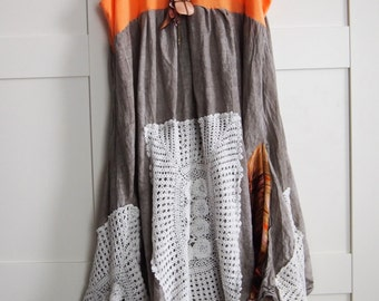SALE! Wearable art, Funky upcycled  romantic rustic Boho altered artsy Clothing dress top tunic artsy  lagenlook S - M Free Shipping