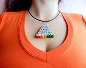Triangle shaped rainbow colored pencil crayon necklace pendant with br...