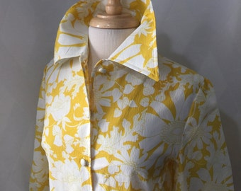 Vintage 60s 70s Yellow and White Floral Print Shirt Dress by Joyce Button Front Oversized Collar