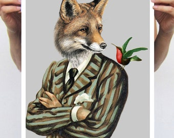 Fox print, Fox Poster, Fox Artwork A3 Fox Illustration Giclee Print Wall art Wall Hanging Wall Decor Animal Painting Digital Art
