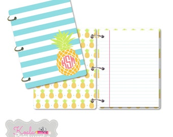 Personalized Note Book - 3 Binder Rings -  Journal - Pineapple - Tropical Stationary - Back to School - College