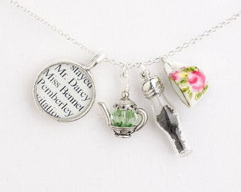 Pride and Prejudice / Jane Austen Tea Necklace / Pride and Prejudice Necklace / Jane Austen Gifts For Book Lovers / Literary Jewelry