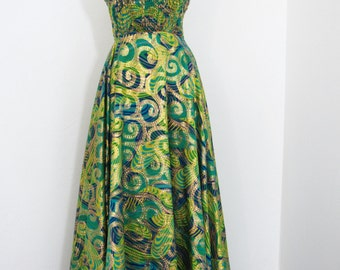 1960s - 70s Psychedelic Print Maxi/Formal Dress by Boutique Maker