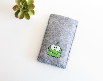 Felt Smartphone Case Om Nom Monster Inspired, Handmade Iphone Case, Felt Smartphone Sleeve, Felt Sleeve for Iphone, Felt Case for Iphone