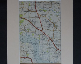 1950s Vintage Map of Kirton, Suffolk Decor, Available Framed, Hemley Art, River Orwell Haven Picture, Bucklesham Wall Art, Trimley Marshes
