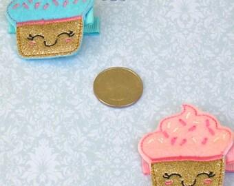 Cupcake Feltie Hair Clip - Cupcake Feltie - Cupcake Party and Felt Cupcake Party Favors - Cupcake Hairbow - Cupcake Party - BowBravo