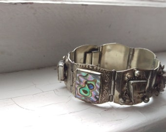 Gorgeous Vintage 1950's Taxco Silver And Carved Abalone Panel Bracelet