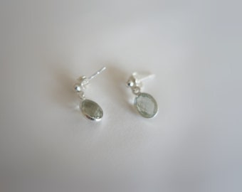 Bezel Set Green Amethyst Oval Drop Studs, Charm Earrings, Sterling 925 Silver, Light Green Prasiolite Faceted Semiprecious Gemstones