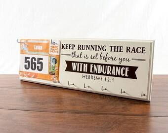 Running medal holder - runners medal rack - race medal holder - race bib holder - gifts for runners - running gifts - running medal