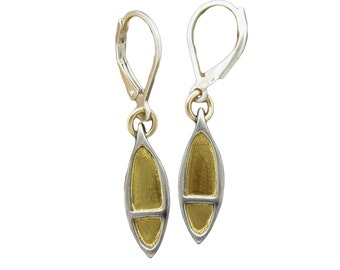 24K and Sterling Silver Mixed Metal Pod Shaped Earrings