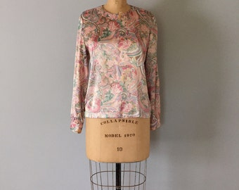 pastel paisley blouse | fall pastel top