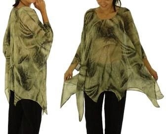 HO300ZT4 tunic blouse chiffon Gr. 44 46 48 50 52 54 beige/Brown