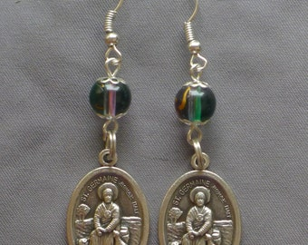 St Germaine  - 8mm Green and Pink Glass Earrings