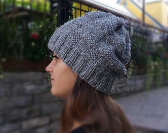 Knit Slouchy Hat Beanie Toque, light grey Canadian wool, fall winter accessories