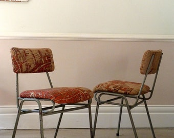 Pair of Vintage Industrial Experimental Map Chairs