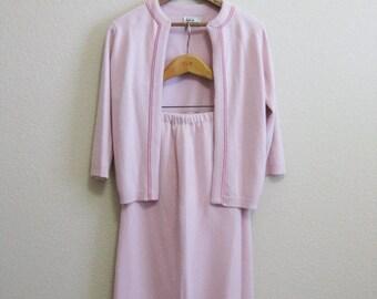 Soft Pink Cardigan Skirt Set Small- Lined knit long skirt - Mad Man