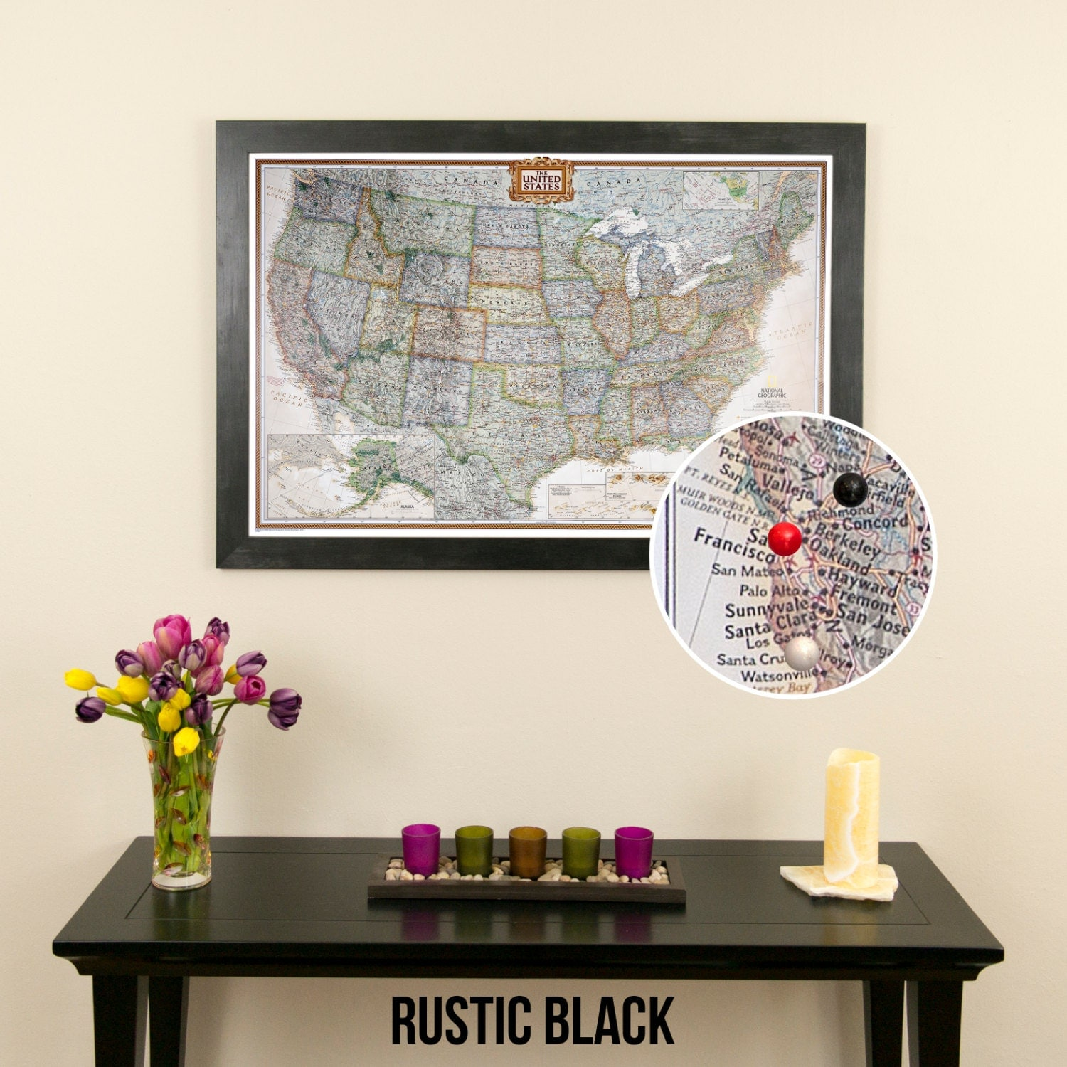 Executive US Travel Map With Pins And Frame Push Pin - Us travel map push pin
