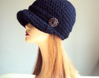Brim Hat with Button Crochet Brim Hat  Newsboy Cap Knit Button Hat Women Fashion Accessories Gift Ideas