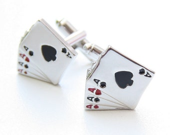 Playing Cards Cufflinks, Grooms Cufflinks, Grooms Gift, Wedding Jewelry, Men's Jewelry, Grooms Present, Ace Card Cuff Links, Groomsmen Gift