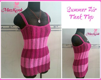 Summer air tank top pdf crochet pattern ( size S - 3XL )