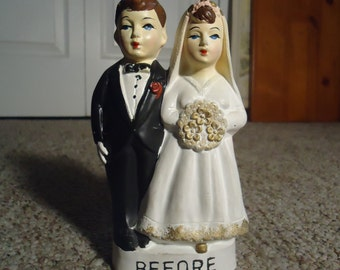 Before and After Bride and Groom Ceramic Piggy Bank Figurine Our Own Imports Japan Mid Century Collectible