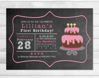 Chalkboard Cake Birthday Party Invitation, Printable Digital Invite File, Girl, Pink, Subway Style