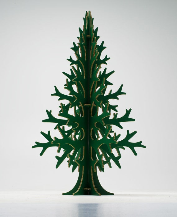Green recycled cardboard christmas tree, modern holiday decoration 132 cm / 4'33''