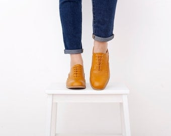 Womens Oxford Shoes , Yellow Leather Womens Brogue shoes, free shipping New collection , ADIKILAV ON SALE 30%