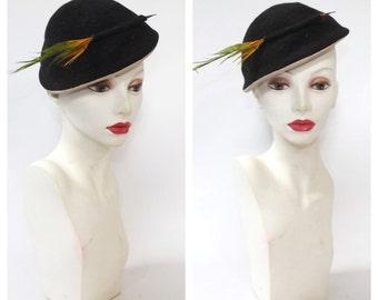 Impish Vintage 1940s Hat Womens Gray Wool Cap 40s Joal Hat Mini Hat Tilt Hat Feather Hat Oktoberfest Fall Hat 1950's Wool Hat Pillbox Hat