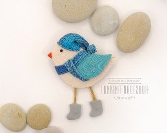 Light blue polymer clay bird brooch cute animal jewelry small gift for her