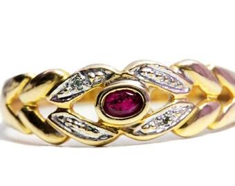 Ruby 10k Gold Ring Diamonds
