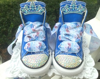 Elsa Birthday Shoes - Elsa Costume - Tiara Charm - Frozen Party - Elsa Outfit - Frozen Birthday - Crystals - Bling Converse - Toddler/youth