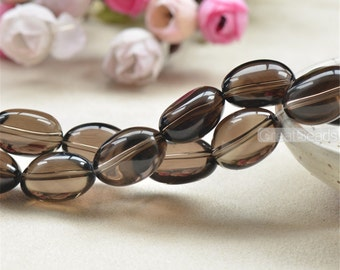 Grade AAA Natural Smoky Quartz Beads Pebble Shape 16X22mm 15 Inch Strand SQ33