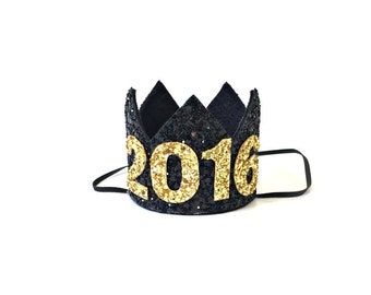 New Years Crown Gold Glitter 2016 Photo Prop Mini Crown Celebration New Year