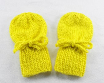 Yellow Baby Mittens - Acrylic Hand Knit Thumbless Gloves Fits 0 to 12 Months