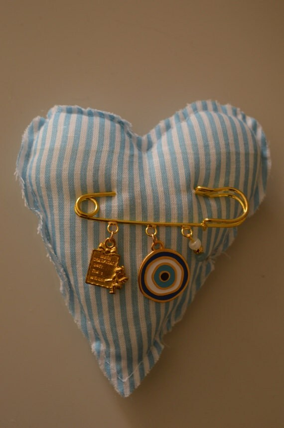 Baby Boy Gift Gold : Baby shower gift boy heart pillow gold safety pin