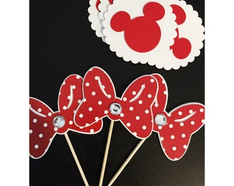 Minnie Mouse Cupcake Toppers, Minnie Bow Toppers, Minnie Mouse Cupcake, Mickey Mouse Cupcake Toppers