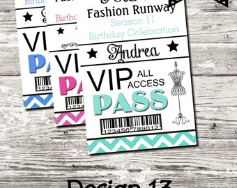 Fashion Show Backstage VIP Pass Birthday Party 10 Color Choices Digital Printable