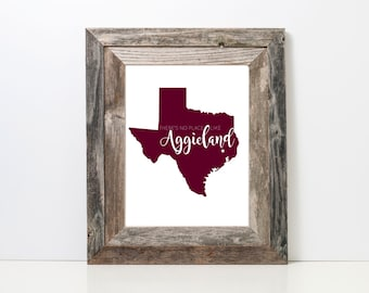 No Place Like Aggieland Print | Texas A&M | Texas Aggies | Aggie Grad | Aggie Art Prints