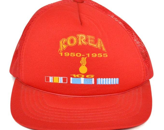 Vintage 80s Korea 1950-1955 Veteran Military Snapback Trucker Hat Baseball Cap