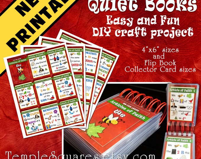 NEW PRINTABLE - Articles of Faith Quiet Book, Sacrament Book, Flip Book, Flash Cards, DIY 4x6 and Collector Card Sizes crafts or gifts
