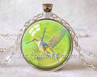 HUMMINGBIRD NECKLACE Hummingbird Pendant Green Chartreuse Hummingbird Totem Bird Lover Gift for Bird Lover Hummingbird Jewelry