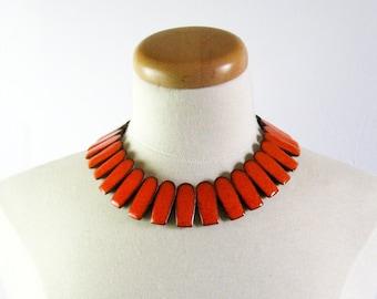 Mid Century Modern Jewelry - Brondsted Ceramic Necklace - 1950s Danish Jewelry Statement Necklace - Orange Ceramic Jewelry Brondsted Denmark