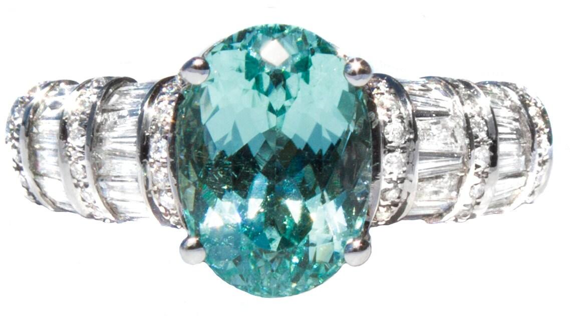 Rare Paraiba Color Tourmaline Amp Diamond Ring